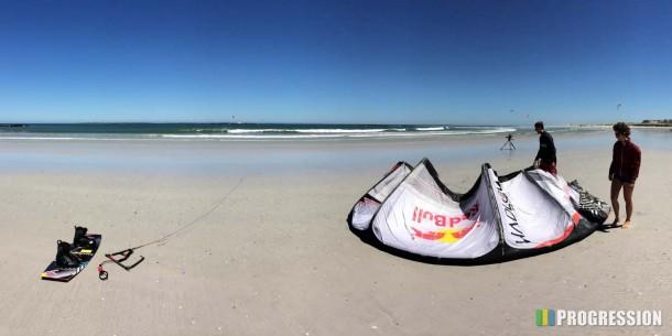 Hadlow kite and board on big bay beach
