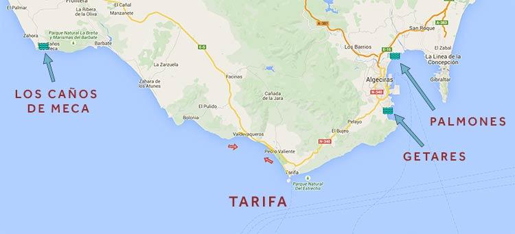Tarifa kitesurfing spots at palmones, getares and canos de meca